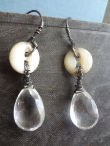 A pair of quartz and antique button earrings by C. Laurentine