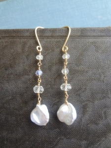 Gold-fill, pearl, morganite, and rainbow moonstone earrings.