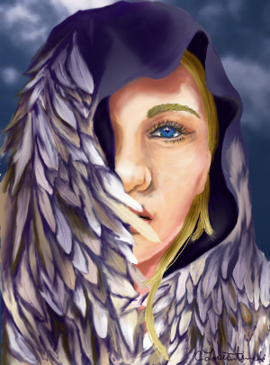 The Goddess Freya, face half-covered by her falcon feather cloak. Her eye is an intense blue. She stands in front of a dark blue sky with faintly white clouds.