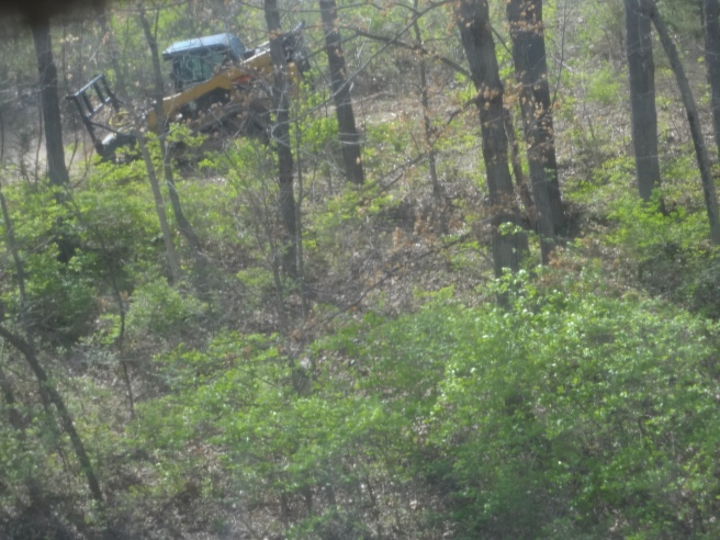 A small piece of riding machinery cutting away a wooded area.