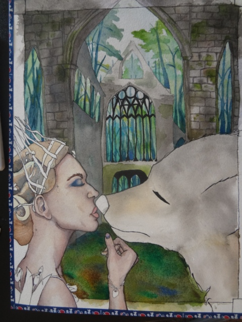 An unfinished watercolor painting of white woman wearing a twig crown and lady slippers. She has closed eyes and is kissing a wolf. They stand in front of a crumbling cathedral in the forest.