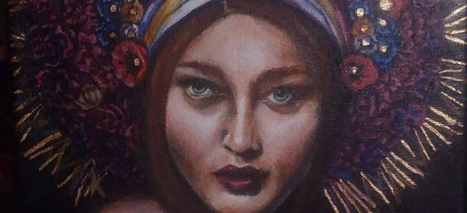 A painting of an auburn-haired woman with green eyes. She is illuminated in a dark room and wears a large multi-color flower crown with gold leafing throughout